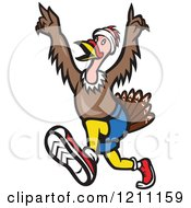 Clipart Of A Turkey Trot Runner With His Arms Up Royalty Free Vector Illustration