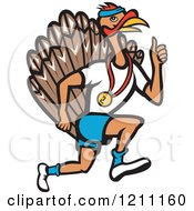 Clipart Of A Turkey Trot Runner With A Medal And Thumb Up Royalty Free Vector Illustration