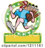 Clipart Of A Turkey Trot Runner In A Circle Of Stars With Copyspace Royalty Free Vector Illustration