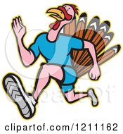 Clipart Of A Turkey Trot Runner Royalty Free Vector Illustration