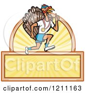 Clipart Of A Turkey Trot Runner Over Sunshine And Copyspace Royalty Free Vector Illustration