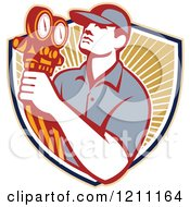 Clipart Of A Retro Refrigeration Mechanic Holding Temperature Gauges Over A Shield Of Rays Royalty Free Vector Illustration