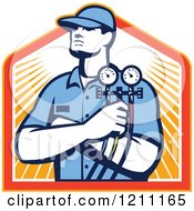 Clipart Of A Retro Refrigeration Mechanic Holding Temperature Gauges Over Rays Royalty Free Vector Illustration
