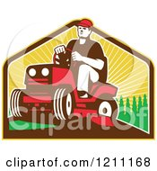 Clipart Of A Retro Farmer Or Gardener Operating A Ride On Lawn Mower Royalty Free Vector Illustration