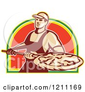 Clipart Of A Retro Pizzeria Worker With A Pie On A Peel Royalty Free Vector Illustration by patrimonio