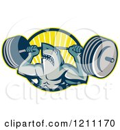 Clipart Of A Shark Lifting A Barbell Over A Circle Of Rays Royalty Free Vector Illustration by patrimonio