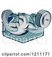 Clipart Of A Retro Shark Lifting A Barbell Over Rays Royalty Free Vector Illustration by patrimonio