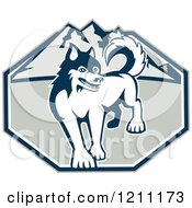 Clipart Of A Retro Siberian Husky Dog Over Mountains Royalty Free Vector Illustration