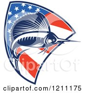 Clipart Of A Retro Sailfish Leaping Over An American Flag Shield Royalty Free Vector Illustration