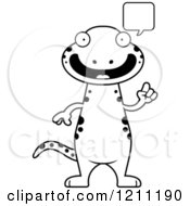Cartoon Of A Black And White Talking Slim Salamander Royalty Free Vector Clipart