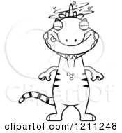 Cartoon Of A Black And White Drunk Slim Iguana Royalty Free Vector Clipart by Cory Thoman