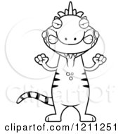 Cartoon Of A Black And White Mad Slim Iguana Royalty Free Vector Clipart by Cory Thoman