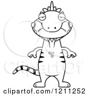 Cartoon Of A Black And White Depressed Slim Iguana Royalty Free Vector Clipart by Cory Thoman
