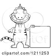 Cartoon Of A Black And White Happy Slim Iguana With A Sign Royalty Free Vector Clipart by Cory Thoman
