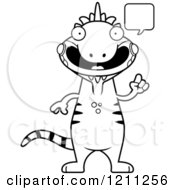Cartoon Of A Black And White Talking Slim Iguana Royalty Free Vector Clipart by Cory Thoman