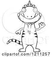 Cartoon Of A Black And White Waving Slim Iguana Royalty Free Vector Clipart by Cory Thoman