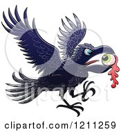 Cartoon of a Crow Flying with an Eyeball - Royalty Free Vector Clipart by Zooco