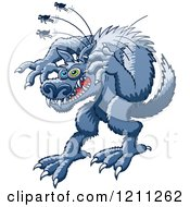 Cartoon Of A Werewolf Scratching At Fleas Royalty Free Vector Clipart by Zooco