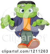 Cartoon Of A Cute Frankenstein Boy Walking With His Hands Out Royalty Free Vector Clipart by Pushkin