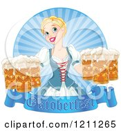 Cartoon Of A Happy Blond Oktoberfest Beer Maiden With Pints A Banner And Rays Royalty Free Vector Clipart