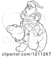Outlined Santa Riding A Polar Bear