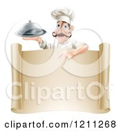Cartoon Of A Chef With A Mustache Holding A Platter And Pointing Down At A Scroll Sign Royalty Free Vector Clipart