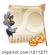Black Cat Pointing To A Scroll Sign With A Witch Broomstick And Halloween Pumpkins