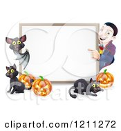 Cartoon Of A Happy Vampire With A Bat Cats And Halloween Pumpkins Around A White Sign Royalty Free Vector Clipart by AtStockIllustration