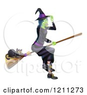 Cartoon Of A Green Halloween Witch Tipping Her Hat And Flying With A Black Cat On A Broomstick Royalty Free Vector Clipart