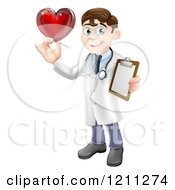 Brunette Male Doctor Holding A Heart And Medical Chart