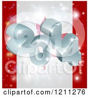 Cartoon Of A 3d 2014 And Fireworks Over A Canadian Flag Royalty Free Vector Clipart by AtStockIllustration