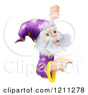 Cartoon Of A Happy Gray Bearded Wizard With Pointing And Looking Around A Sign Royalty Free Vector Clipart