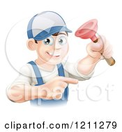 Cartoon Of A Friendly Young Brunette Plumber Holding A Plunger And Pointing Royalty Free Vector Clipart