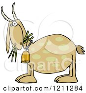 Cartoon Of A Tan Goat Eating Grass And Wearing A Bell Royalty Free Vector Clipart