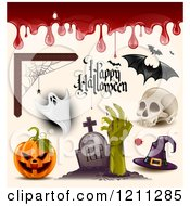 Poster, Art Print Of Happy Halloween Greeting With Blood A Spider Web Ghost Bats Skull Witch Hat Zombie And Jackolantern