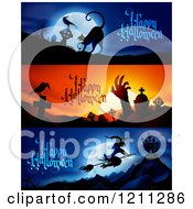 Clipart Of Spooky Happy Halloween Website Banners Royalty Free Vector Illustration
