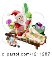 Cartoon Of A Relaxing Santa Holding A Cocktail And Waving With Vacation Items And A Bag Of Gifts Royalty Free Vector Clipart
