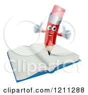 Cartoon Of A Happy Red Pencil Mascot Holding Two Thumbs Up On A Notebook Royalty Free Vector Clipart