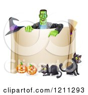 Cartoon Of A Happy Frankenstein Pointing Down At A Scroll Sign With A Witch Hat Cats A Broomstick And Halloween Pumpkins Royalty Free Vector Clipart by AtStockIllustration