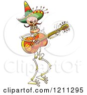 Cartoon Of A Mexican Skeleton Guitarist Royalty Free Vector Clipart by Zooco