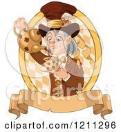 Cartoon Of A Mad Hatter Pouring Tea Over Diamonds And A Banner Royalty Free Vector Clipart by Pushkin