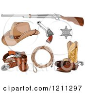Cartoon Of Western Cowboy Gear Royalty Free Vector Clipart by Pushkin