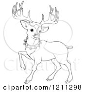 Outlined Cute Christmas Reindeer With A Bell Collar