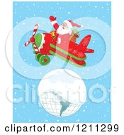Cartoon Of Santa Flying A Plane Over A Snow Covered Globe Royalty Free Vector Clipart