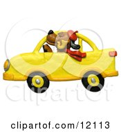 Clay Sculpture Of A Dog With Hat Pipe And Scarf Driving A Yellow Car Clipart Picture