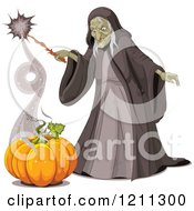 Cartoon Of An Ugly Halloween Witch Creating A Pumpkin With A Spell Royalty Free Vector Clipart by Pushkin