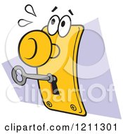 Cartoon Of A Disturbed Lock And Key Royalty Free Vector Clipart by Johnny Sajem