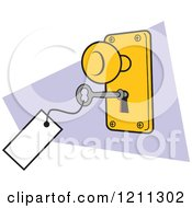 Cartoon Of A Lock And Key With A Tag Royalty Free Vector Clipart by Johnny Sajem