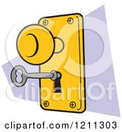 Cartoon Of A Lock And Key Royalty Free Vector Clipart by Johnny Sajem