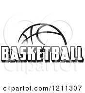Clipart Of A Black And White Ball With BASKETBALL Text Royalty Free Vector Illustration